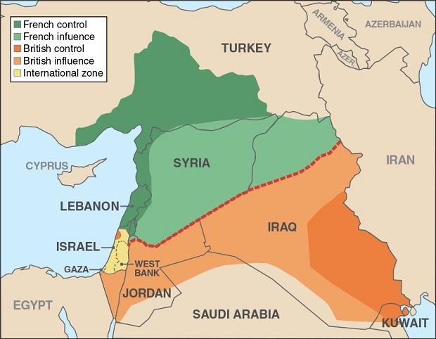 Zone di spartizione dell'accordo Sykes-Picot