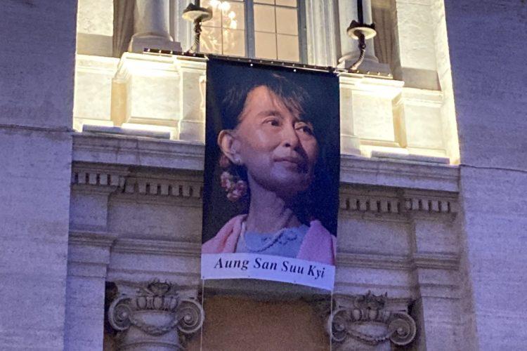 la foto di Aung San Suu Kyi al Campidoglio